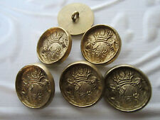 "1"" Metal CROWN & SHIELD REENACTMENT Buttons (6 pc) BRASS Tone"