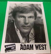 Adam West Signed B&W 8 1/2 x 11 Blockbuster Video Photo Batman Family Guy 80's