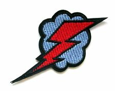 Lightning Bolt With Cloud Iron On Patch- Storm Badge Applique Sew Patches