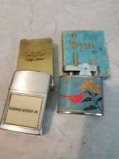 2 mint in boxes vintage lighters enameled SPARK K.Y.M. Kentucky & name