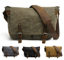 Mens Canvas with Leather School Satchel Shoulder Laptop Cross Body Messenger Bag