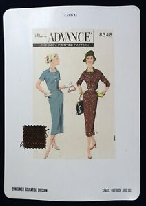 Vtg 1950s Sears Store Display Sewing Pattern Advertising CARD Advance 8348