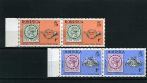 STAMP on STAMP,-pair hor. DOMINICA   1874-1974