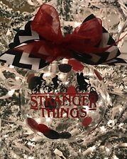 "New custom decorated 4"" glass Stranger Things inspired Christmas ornament"