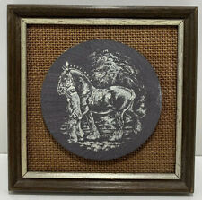 FRAMED ETCHED SLATE SHIRE HORSE PICTURE WALL HANGING