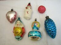 Vintage Blown Glass Feather Tree Figural Christmas Ornaments Drummer Boy Heart