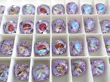 1 Violet Glacier Blue Swarovski Crystal Square Cushion Cut  Stone 4470 12mm