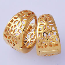 Womens vintage Hollow Out Flower Hoop Earrings 18K Gold Plated Free Shipping