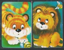 #915.342 Blank Back Swap Cards -MINT pair- Tiger & Lion on green background