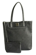 TOMMY HILFIGER Signature Logo Tote Handbag Purse with Pouch,  Gray,  NWT $118