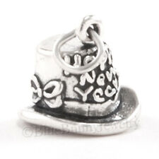 3D TOP HAT w HAPPY NEW YEAR Year's eve solid .925 Charm Pendant STERLING SILVER