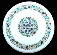 "16"" Round Marble Coffee Table Top Inlaid Floral Outdoor Home Decorative H1966"