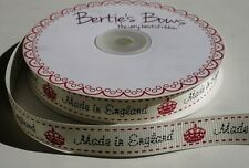 """2m Bertie's Bows Ivory """"Made In England"""" Print 16mm Grosgrain Ribbon, Wrap Label"""