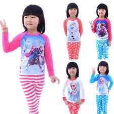 Frozen Anna Elsa Kids Girls Nightwear Long Sleeve Pajamas Set Sleepwear 1-7Yrs y