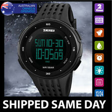 X SKMEI MENS WATERPROOF DIGITAL SPORTS WATCH Water Resistant Dress Gold 92
