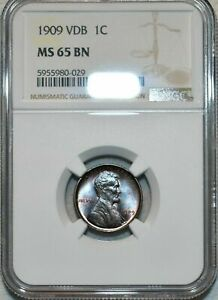 1909-P U.S 1 CENT LINCOLN CENT VDB NGC MS 65 BN GORGEOUS TONED HIGH GRADE APPEAL