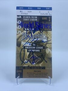 Greg Maddux/Tom Glavine/John Smoltz Signed 1995 World Series Ticket Stub PSA/DNA