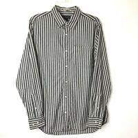 Banana Republic Mens Large Gray/White Striped Long Sleeve Button Front Shirt