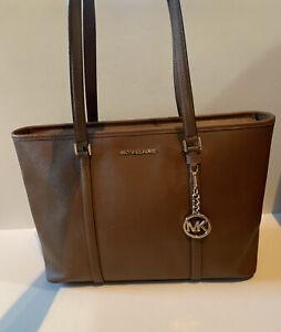 MICHAEL KORS Brown Tan Jet Set XL Laptop TOTE Saffiano Leather Travel Book Bag
