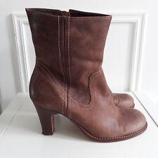 89b85402e612 Faith Tan Brown 90s style High Heel Round Toe Ankle Boots Sz UK 6   EU