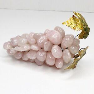 Vintage Grape Cluster Pink Rose Quartz Mid Century Gem Polished Stone