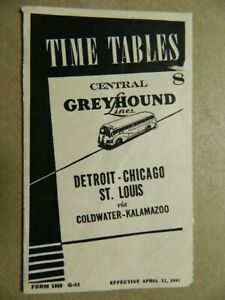 WWII 1943 Greyhound timetable Detroit-Chicago Coldwater-Kalamazoo Mi. ephemera