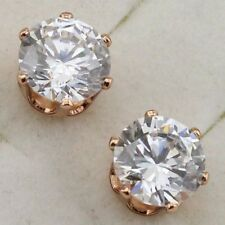 New 18K Rose Gold Plated 6 Prong Set Round Clear 2.3ct 7mm CZ Stud Earrings