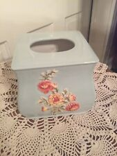 Ceramic Tissue Box Cover Baby Blue - Red Floral