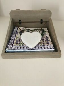 DISTRESSED WOODEN HEART NAPKIN HOLDER with Napkins BY GISELE GRAHAM