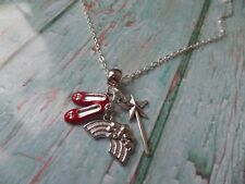 Wizard of OZ themed silver tone charm necklace dorothy fan gift xmas stocking UK