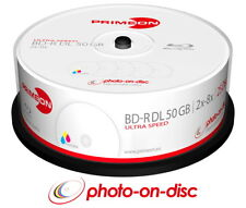 50 PRIMEON Rohlinge Blu-ray Bd-r DL Full Printable Photo On Disc 50gb 8x Spindel