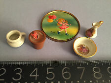 Vintage miniature FINE Limoges pitcher +bowl, painting, potty bowl, flower pot