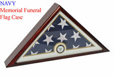 NAVY Flag Display Case Box, 5x9 Burial - Funeral - Veteran Flag Case