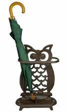 Decorative Cast Iron Owl Umbrella Walking Stick Stand Brown