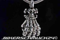 Totenkopf Kette + Anhänger Skeletthand Pirate Skulls Edelstahl Biker Halskette