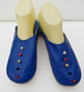 MOROCCAN SOFT LEATHER SLIPPERS * BLUE * ALL SIZES