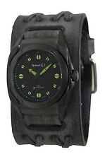 Nemesis Black/Yellow Eternity Men's Watch with Dark Brown Leather Band, DFXB081Y