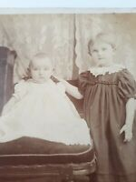 Antique Adorable Baby Pouty Mouth & Little Girl in Fancy Dress Cabinet Photo