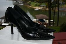 Black Christian Dior high heel pumps CD silver embellishment sz 37.5