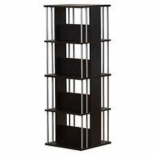 Media Storage Tower CD DVD Rack Revolving Espresso Multimedia Shelf Organizer