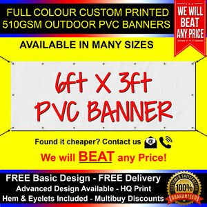 6ft x 3ft PVC Banner Custom Printed Outdoor Heavy Duty Banners Advertising
