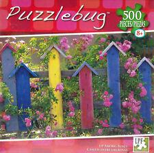"Jigsaw Puzzle UP AMONG ROSES Birdhouses Flowers 500 Piece 18.25"" x 11"" Puzzlebug"