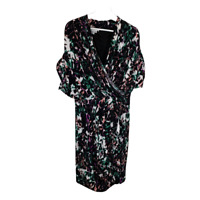 Maggy London Womens Dress Sheath V Neck Ruched Dolman Sleeve Work Ladies Size 16