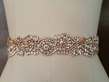 """Wedding Dress Sash Belt -  Rose Gold Crystal SASH BELT = 18"""" long"""