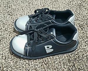 Brunswick T Zone Bowling Shoes Youth Kids Sz 2 EU 33 - EUC, Boys, Black & Silver