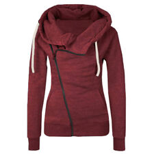 UK Womens Warm Fleece Zip Hooded Parka Overcoat Hoodies Coat Top Jacket S