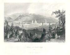 1842 FIRENZE veduta da Fiesole Toscana acquaforte originale Wright