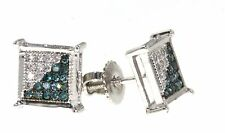 Men's 1/4 CT Blue & White Diamond Four Prong Square SOLID 10K Gold Earrings Stud