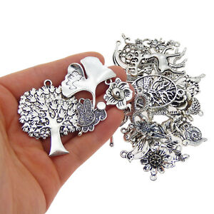 Lot of 10 Vintage Silver Alloy Animals Plants Pendants Mixed Jewelry Accessories