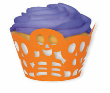 12 X Halloween Cupcake Envoltura De Naranja Magdalena Cajas Esqueleto De Corte Láser